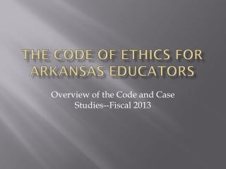 The Code of Ethics for Arkansas Educators