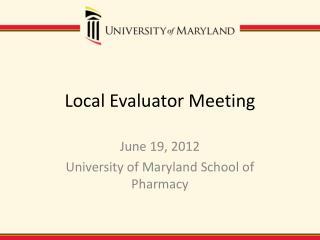 Local Evaluator Meeting