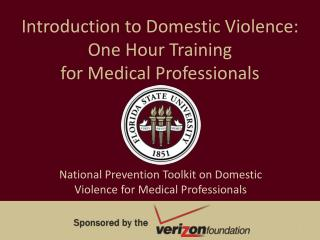 Introduction to Domestic Violence:  One Hour Training  for Medical Professionals