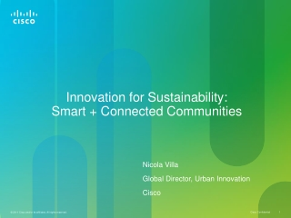 Innovation for Sustainability:  Smart + Connected Communities