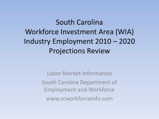 South Carolina Workforce Investment Area (WIA) Industry Employment 2010 – 2020 Projections Review