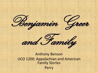 Benjamin Greer and Family