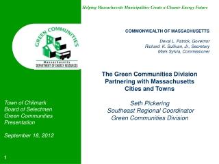 COMMONWEALTH OF MASSACHUSETTS Deval L. Patrick, Governor Richard  K. Sullivan, Jr., Secretary Mark Sylvia, Commissioner