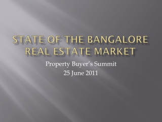 State of the Bangalore real Estate Market