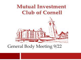 General Body Meeting 9/22