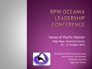 BPW OCEANIA Leadership conference