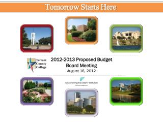 2012-2013 Proposed Budget Board Meeting August 16, 2012