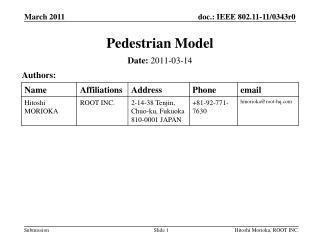Pedestrian Model