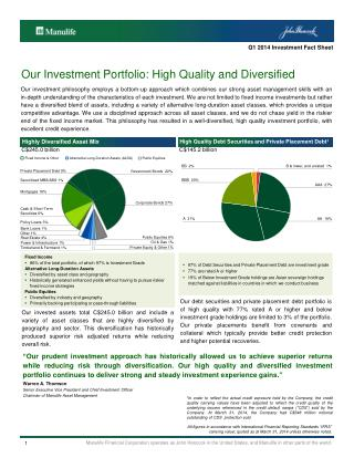 Our Investment Portfolio: High Quality and  Diversified