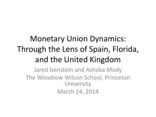 Monetary Union Dynamics: Through the Lens of Spain, Florida, and the United Kingdom