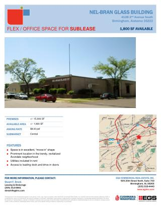 "FEATURES Space is in excellent, ""move-in"" shape  Prominent location in the trendy, revitalized Avondale neighborhood Ut"