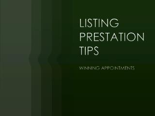 LISTING PRESTATION TIPS