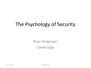 The Psychology of Security