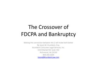 The Crossover of  FDCPA and Bankruptcy