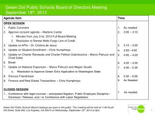 Green Dot Public Schools Board of Directors Meeting September 18 th , 2013