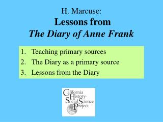 h. marcuse:  lessons from  the diary of anne frank