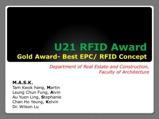 U21 RFID Award Gold Award- Best EPC/ RFID Concept