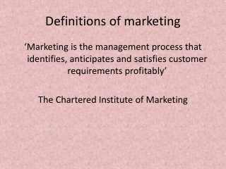 Definitions of marketing