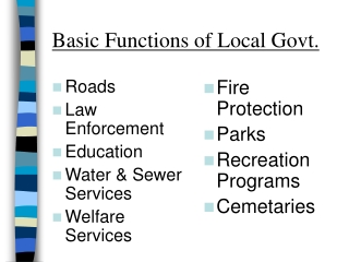 Basic Functions of Local Govt.