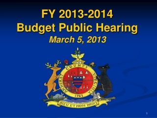 FY 2013-2014 Budget Public Hearing March 5, 2013