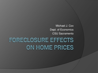 Foreclosure effects on home prices