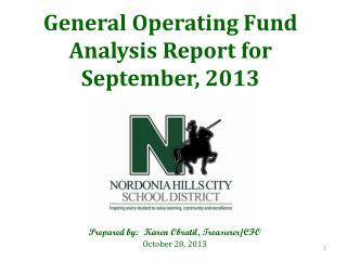 General Operating Fund Analysis Report for  September, 2013