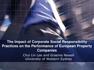 The Impact of Corporate Social Responsibility Practices on the Performance of European Property Companies