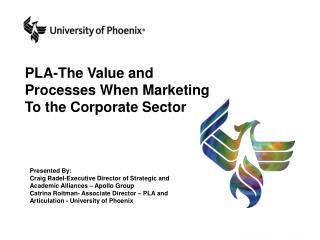PLA-The Value and Processes When Marketing To the Corporate Sector