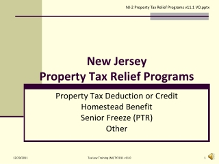 New Jersey  Property Tax Relief Programs