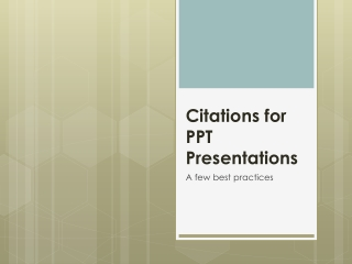 Citations for PPT Presentations