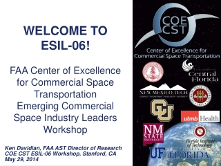 WELCOME TO  ESIL-06! FAA Center of Excellence  for Commercial Space Transportation  Emerging  Commercial Space Industry
