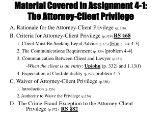 Material Covered in Assignment  4-1: The Attorney-Client Privilege