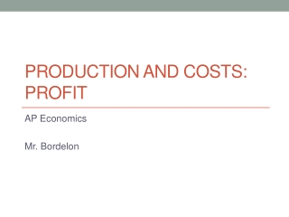 Production and Costs: Profit