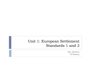 Unit 1: European Settlement Standards 1 and 2