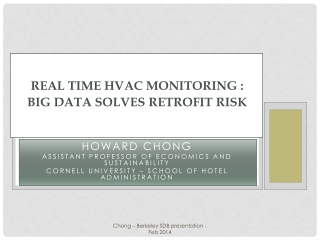 Real time HVAC monitoring  : BIG DATA SOLVES RETROFIT RISK