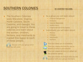 Southern colonies                   By:  Courtney Williams