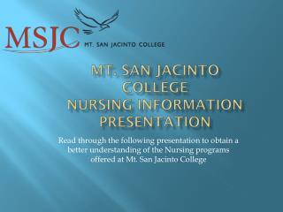 Mt. San Jacinto College Nursing Information Presentation