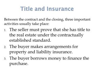 Title and Insurance