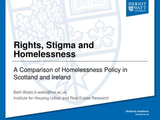 Rights, Stigma and Homelessness