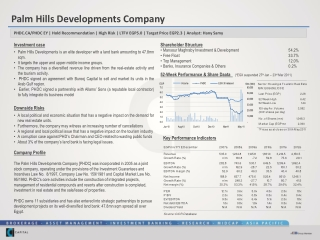 Investment case Palm Hills Developments is an elite developer with a land bank amounting to 47.8mn sqm.  It targets the