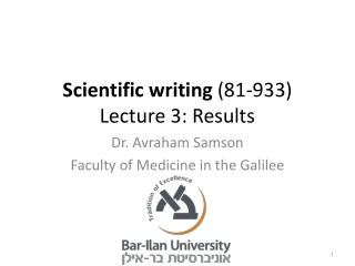 Scientific writing  (81-933) Lecture 3: Results