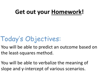 Today's Objectives: