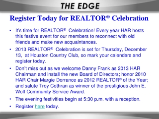 Register Today for REALTOR ®  Celebration
