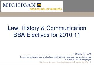 Law, History & Communication BBA Electives for 2010-11