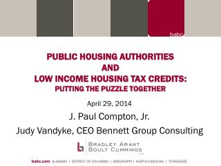 PUBLIC HOUSING AUTHORITIES AND LOW  INCOME HOUSING TAX CREDITS : PUTTING THE PUZZLE TOGETHER