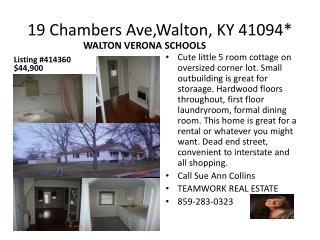 19 Chambers  Ave,Walton , KY 41094*