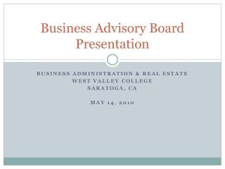 Business Advisory Board Presentation