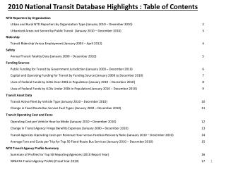 2010 National Transit Database Highlights : Table of Contents
