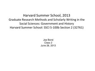 Joe Bond Class 2 June 26, 2013