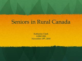 Seniors in Rural Canada